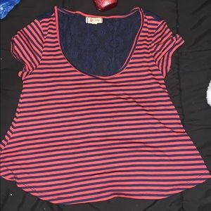 Tops - lace stripped blouse